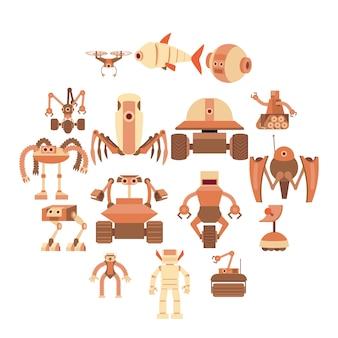 De robot vormt geplaatste pictogrammen, beeldverhaalstijl