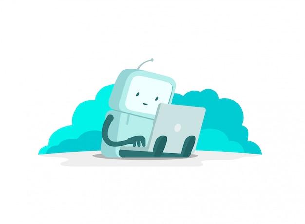 De robotastronautenman zit met laptop. zoek op internet. internet surfen. foutpagina niet gevonden. egale kleur illustratie