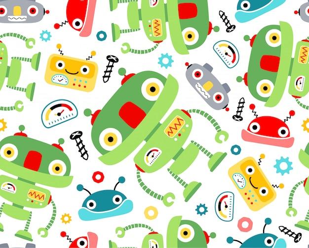 De robotsbeeldverhaal van nice op naadloze patroonvector
