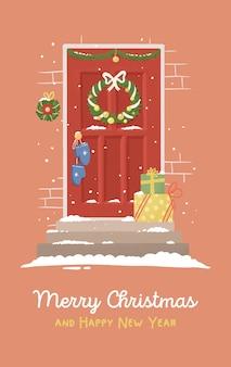 De rode deur van de illustratiekerstkaart met nieuwjaarsdecor