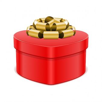 De rode doos van de hartgift met gouden boog die op witte vectorillustratie wordt geïsoleerd als achtergrond
