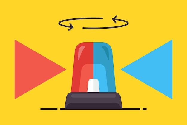 De rode en blauwe flitser draait en schijnt op een gele achtergrond. platte vectorillustratie.