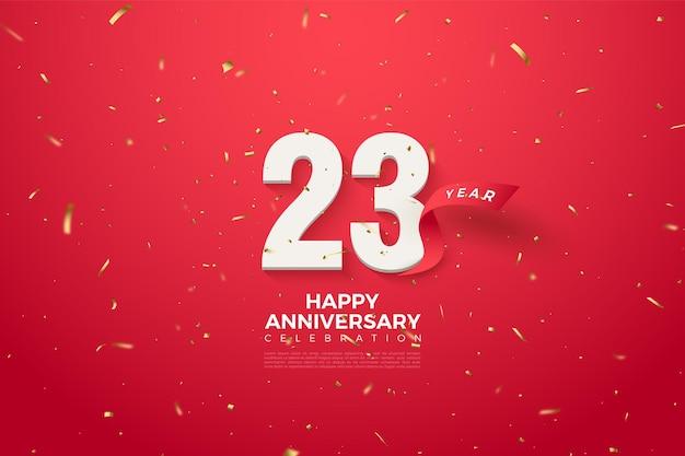 De rode letter achter de cijfers voor het 23-jarig jubileum