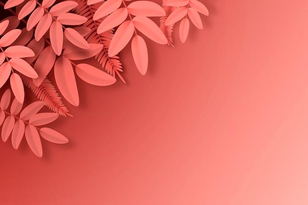 De rode tropische bladeren kopiëren ruimteachtergrond