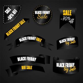 De rol is zwart, logo, embleem en label van black friday