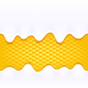 De room van de yoghurtmelk druipt stromend op de kleurrijke gele achtergrond van de honingskam