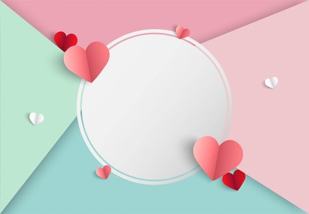 De roze achtergrond van de valentijnskaartendag met hartvorm