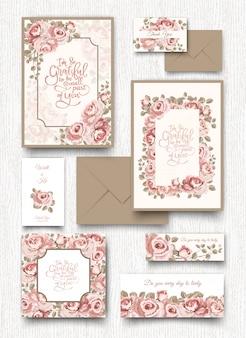 De roze roos uitnodiging kaartsjabloon.