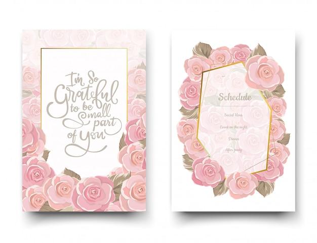 De roze roos uitnodigingskaarten.