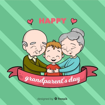 De samenstelling van de dag van de mooie hand getrokken grootouders