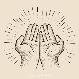 De samenstelling van de handen met de hand getekende stijl