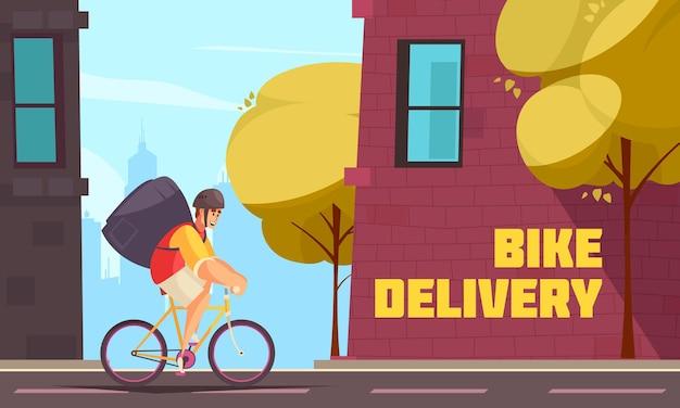 De samenstelling van de leveringsmotor met het straatlandschap in de stad en de lopende fiets van de bezorger met tas en tekstillustratie