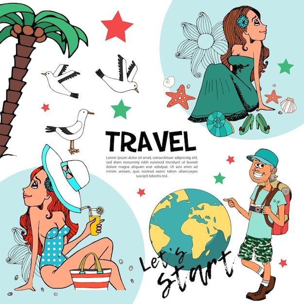 De samenstelling van de vlakke zomervakantie met vrolijke toeristische mooie vrouwen die op de palm van strandmeeuwen ontspannen