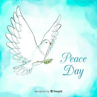De samenstelling van de vredesdag met waterverf witte duif