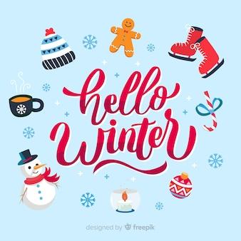 De samenstelling van de winter met mooie typografie