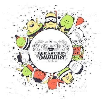 De samenstelling van de zomer met grappige monsters en typografie belettering. cartoon kleurrijke hand getrokken tekens. reeks kleurrijke ongebruikelijke schepselen