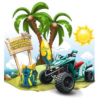 De samenstelling van de zomer met quad bike