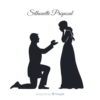 De samenstelling van het huwelijksvoorstel met silhouetstijl