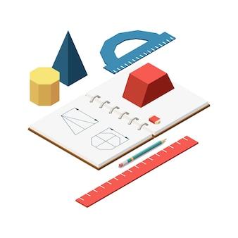 De samenstelling van het isometrische concept van de stamonderwijs met afbeeldingen van briefpapiergoederen en notitieboekje van geometrieillustratie