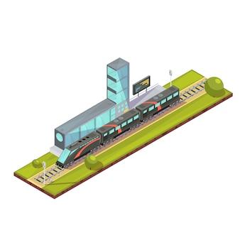 De samenstelling van treinen van de isometrische trein van de spoorwegpassagier en lichte spoorbeelden met de eind bouw van de spoorwegpost vectorillustratie