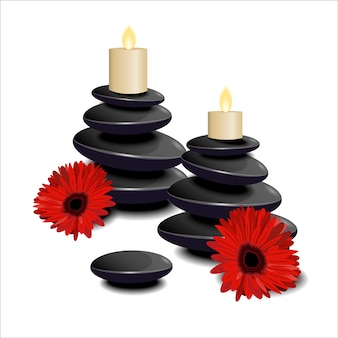 De samenstelling van zwarte stenen, kaarsen en rode bloemen