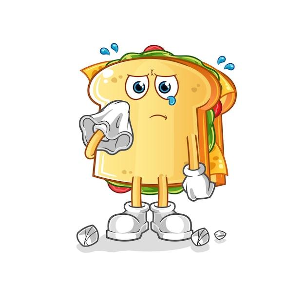 De sandwich huilen met een mascotte van een tissue-karakter