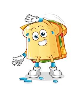 De sandwich uitrekkende cartoon mascotte mascotte. cartoon mascotte mascotte