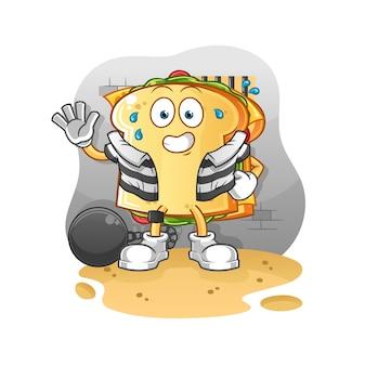 De sandwichcrimineel in de mascotte van de gevangeniskarakter