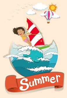 De scène van de zomer met vrouw het surfen