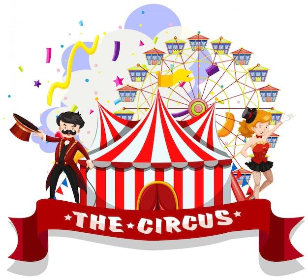 De scène van het circusbehang
