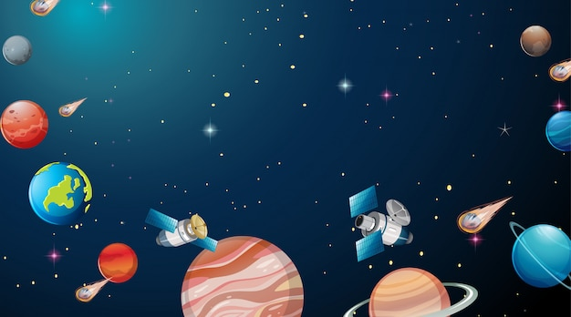 De scène van het zonnestelseluniversum
