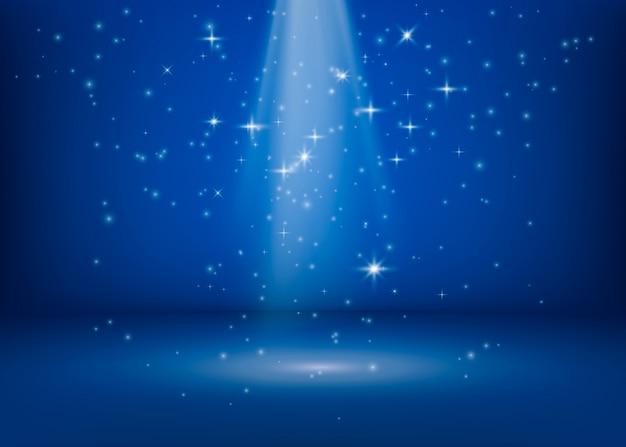 De scène wordt verlicht door een zoeklicht. schitterende glinsterende lichten. magisch wonder glimmend plekje. glitter sterren achtergrond. illustratie