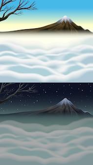 De scèneachtergrond van de aard met berg en mist