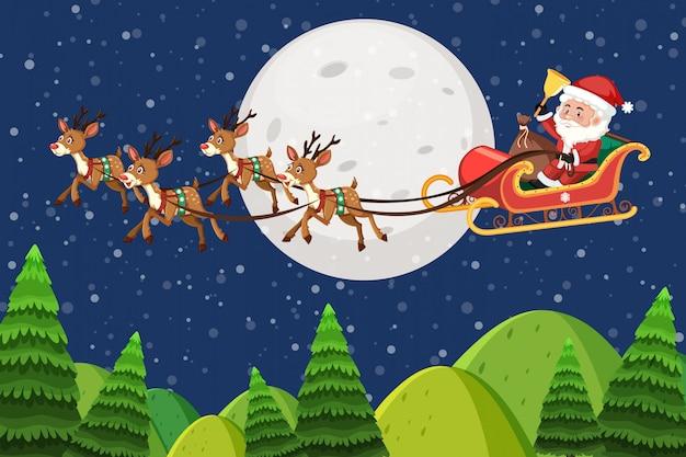De scèneachtergrond van de aard met santa die bij nacht vliegt