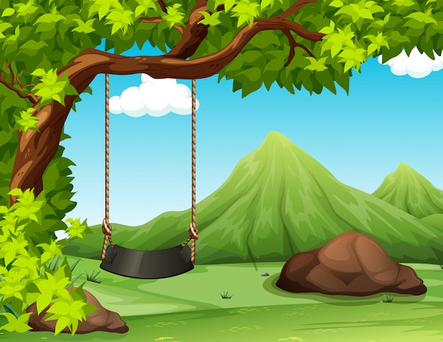 De scèneachtergrond van de aard met schommeling op de boom