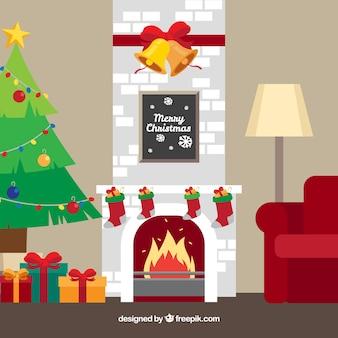 De scèneachtergrond van kerstmis met open haard