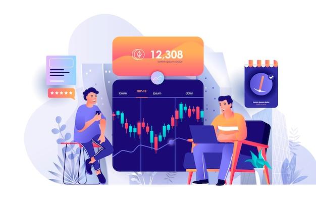De scèneillustratie van de cryptocurrency marktplaats van personenkarakters in vlak ontwerpconcept