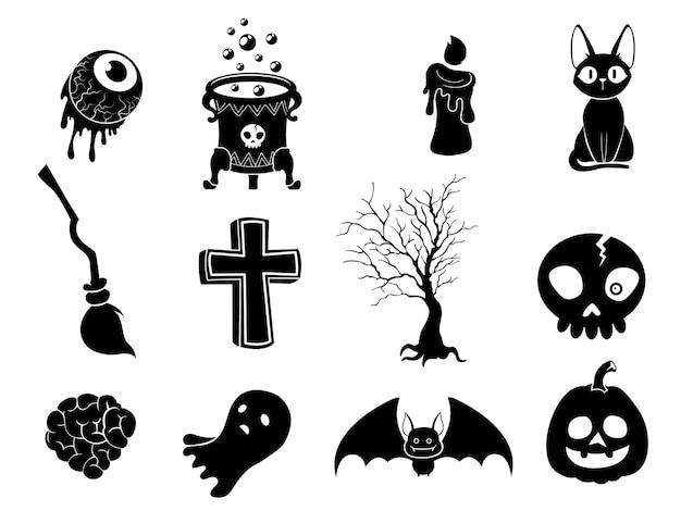 De schaduw collectie van halloween silhouetten pictogram en karakter. de website in het halloween-festival. vector clipart illustratie geïsoleerd op een witte achtergrond