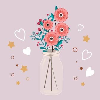 De schattige bloem in de transparante pot met hart en ster.