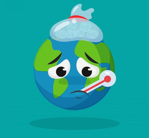 De schattige cartoonwereld is ziek door de opwarming van de aarde.