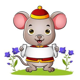 De schattige chinese muis houdt de lege banner van illustratie vast