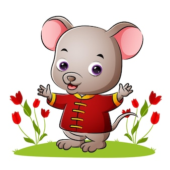 De schattige chinese muis zwaait met de handen van illustratie