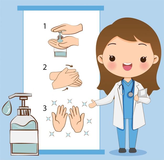 De schattige dokter legt uit hoe je de hand moet wassen / schoonmaken met alcoholgel om het virus te voorkomen