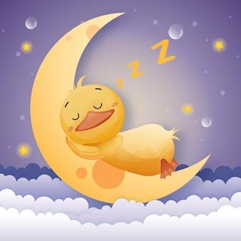 De schattige eend droomt in het maanlicht