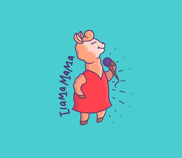 De schattige lama-zangeres in een rode jurk. stripfiguur met een microfoon zingt een zin - ik lama mama.