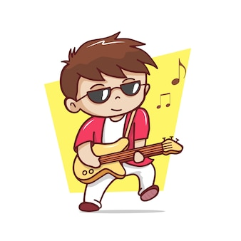 De schattige man gitaar spelen illustratie