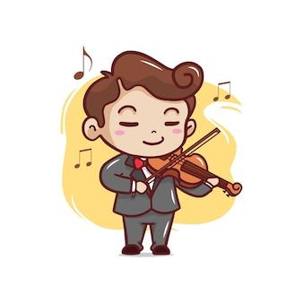 De schattige man speelt viool illustratie