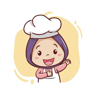 De schattige moslim vrouwelijke chef-kok illustratie
