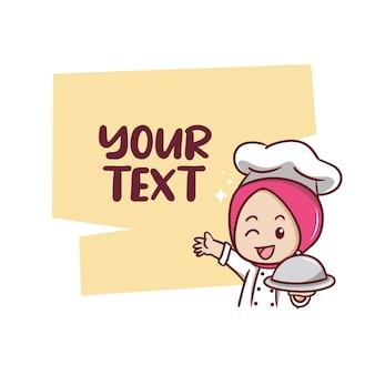 De schattige moslim vrouwelijke chef-kok