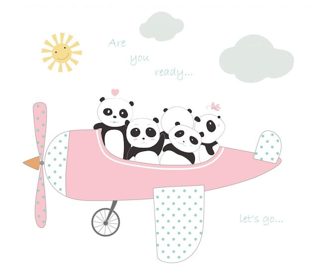 De schattige panda baby met het vliegtuig om op vakantie te reizen